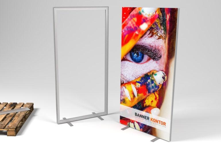 Stellwand Textilspannrahmen 1x2m-Einfacher Motivwechsel, stabile Kederprofile, LED Beleuchtung optional