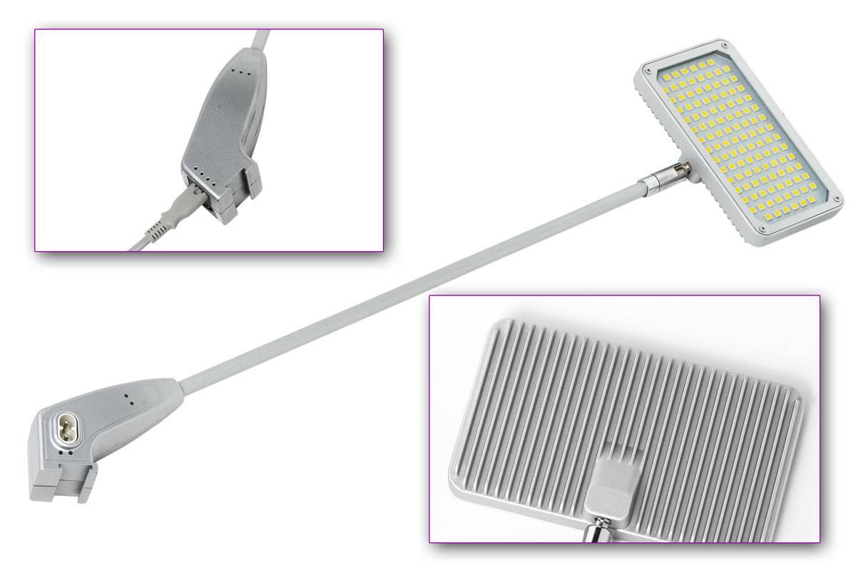 Langarmstrahler LED - silber-LED Langarmstrahler 230V universell einsetzbar. Helles, neutrales Weiß mit gleichmäßiger Ausleuchtung.