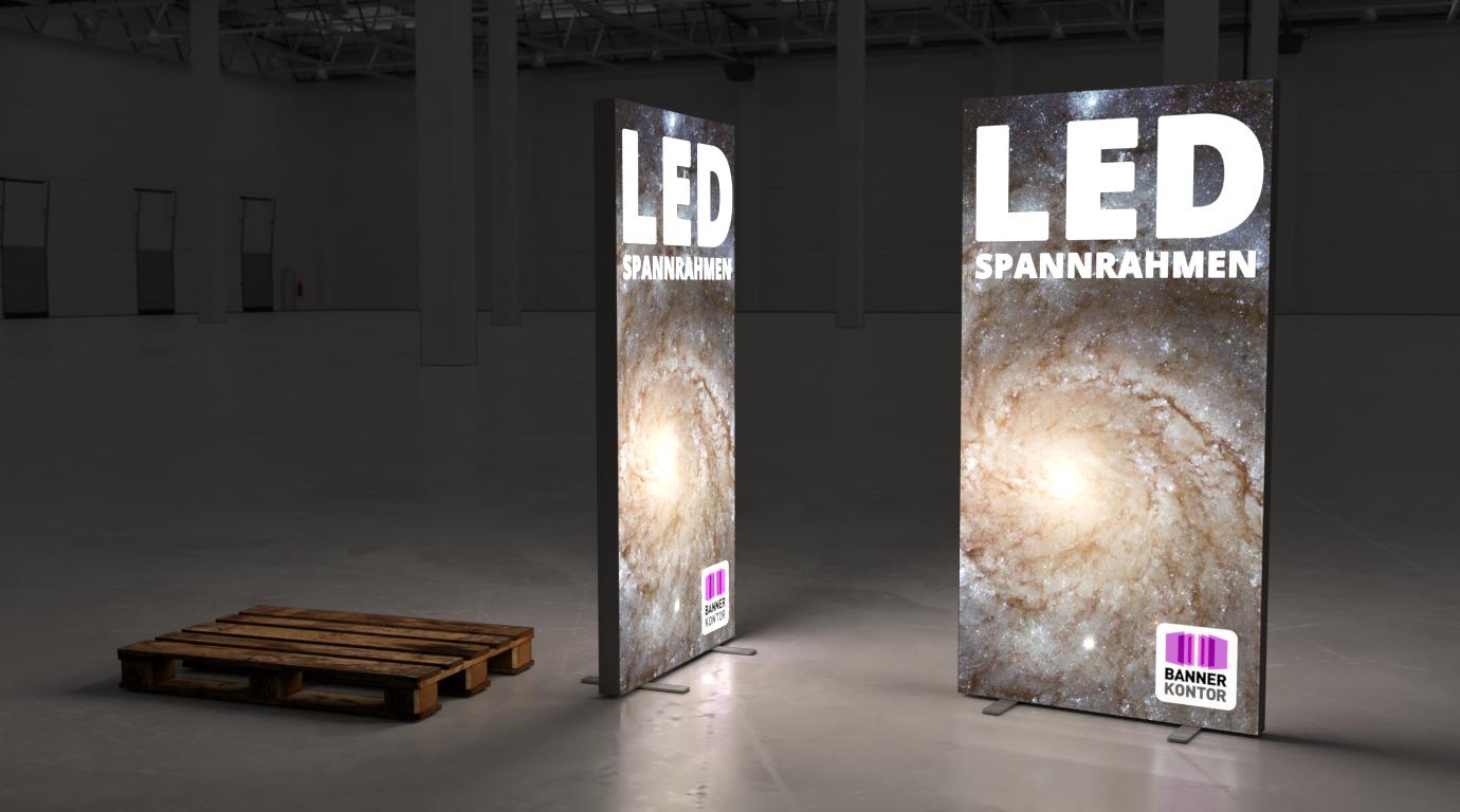 Zwei Spannrahmen mit LED beleuchtung